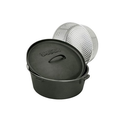 Bayou Classic 7420 20 Quart Seasoned Cast Iron Cooker Dutch Oven with Basket