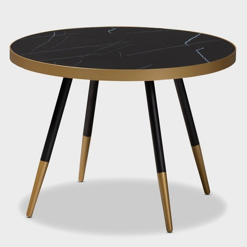 Lauro Round Glossy Marble and Metal Coffee Table with Two - Tone and Legs - Baxton Studio - image 1 of 7