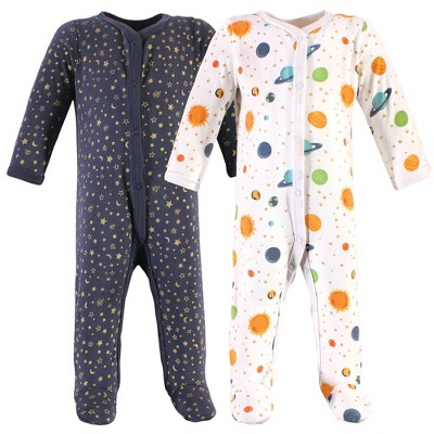 Hudson Baby Infant Boy Cotton Snap Sleep and Play 2pk, Space