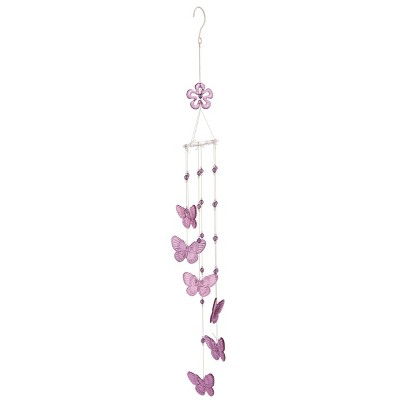 Transpac Artificial 37 in. Purple Spring Butterfly Chime Hanger