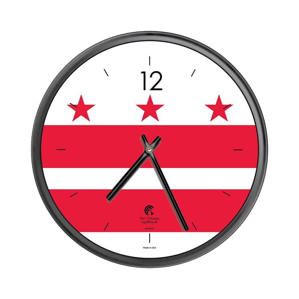 Chicago Lighthouse 12.75x12.75 City Flag Washington DC Slimline Frame Decorative Wall Clocks Black