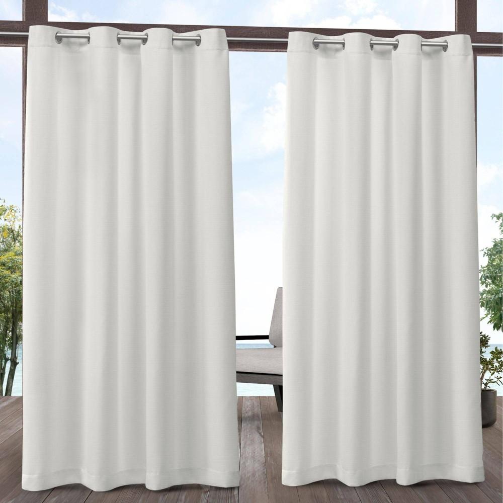 84 34 X54 34 Delano Heavyweight Textured Indoor Outdoor Grommet Top Light Filtering Window Curtain Panel Vanilla White Exclusive Home