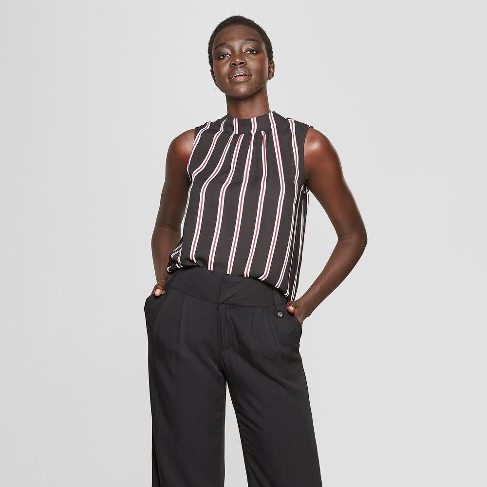 Women's Striped Mock Neck Tank Top - Who What Wear Black/White M, Black/White Stripe