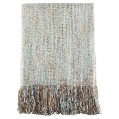 "Aqua Fringe Hem Faux Throw Blankets (50""x60"")- Saro Lifestyle"