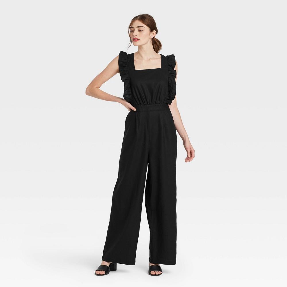 Cottagecore Clothing, Soft Aesthetic Womens Ruffle Short Sleeve Jumpsuit - Who What Wear Jet Black XXL $39.99 AT vintagedancer.com