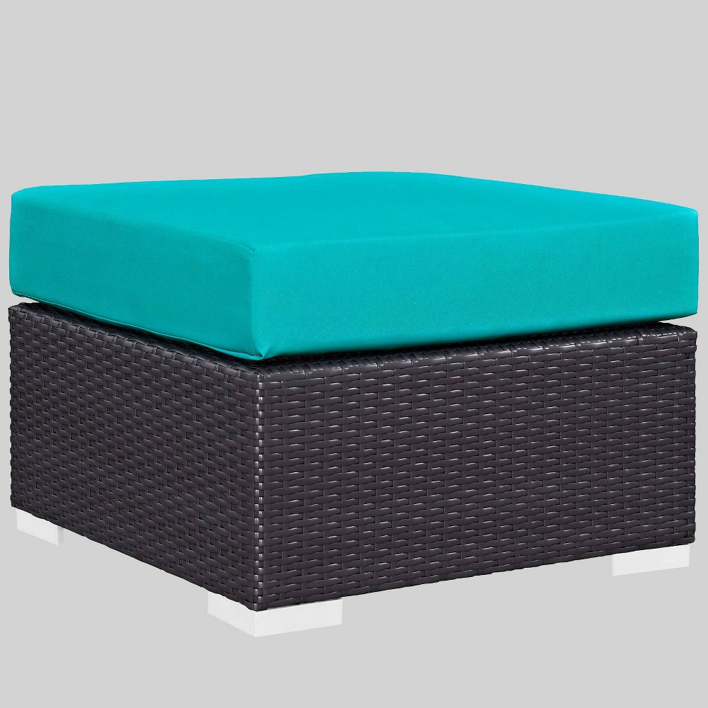 Convene Outdoor Patio Fabric Square Ottoman - Turquoise - Modway