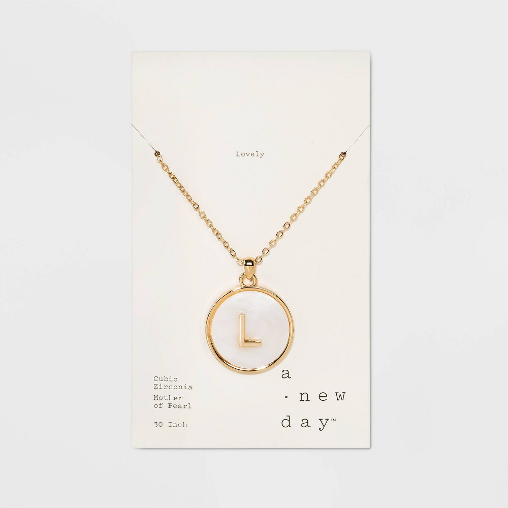Mop Initial L Necklace 30+3 - A New Day Gold, Size: Large, Gold - L