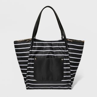 Double Zip Nylon Tote Handbag - A New Day™ Black