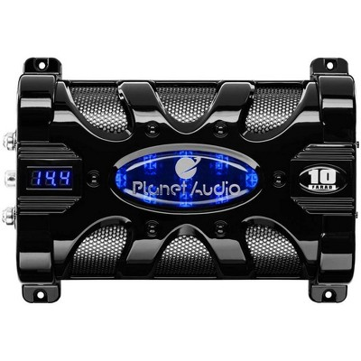 Planet Audio PC10F 10 Farad 24-Volt DC Surge 3-Digit Digital Blue LED Voltage Display Car Audio Power Capacitor Cap, Black