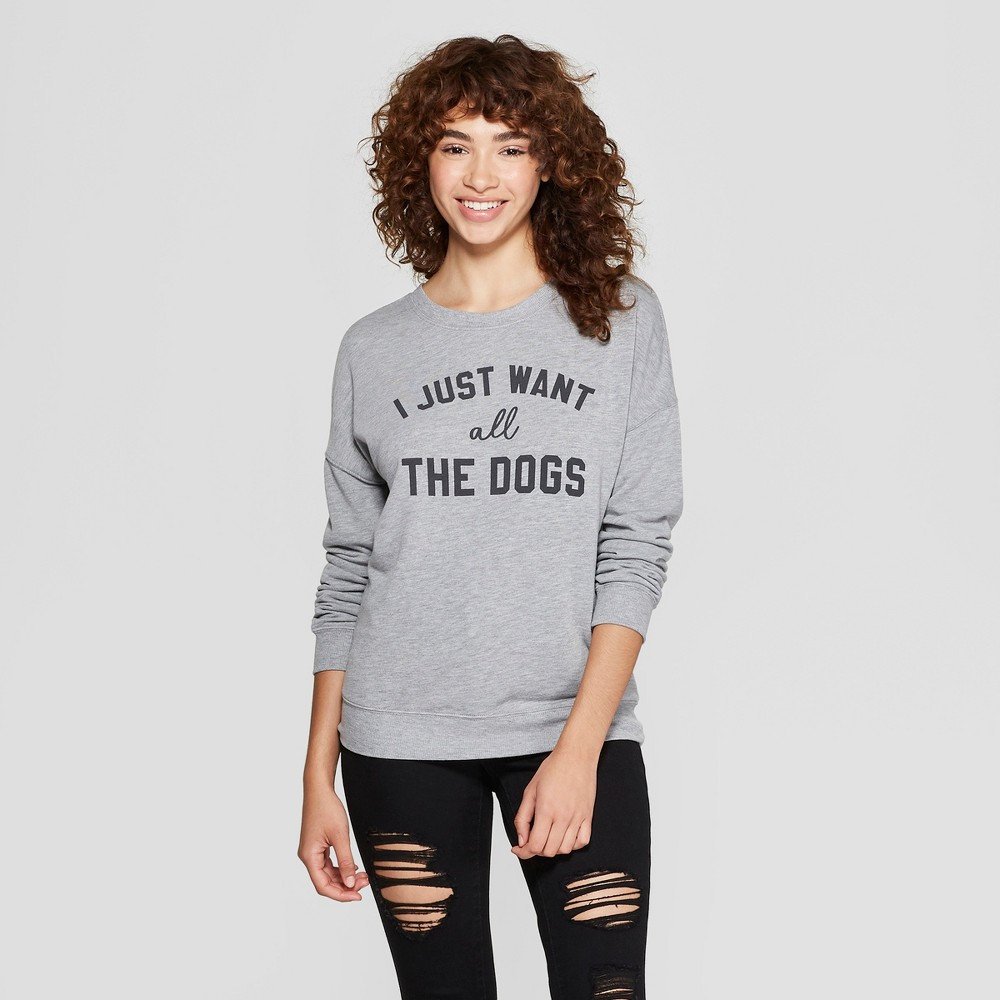 Women's I Just Want All the Dogs Graphic Pullover Sweatshirt - Zoe+Liv (Juniors') Gray M