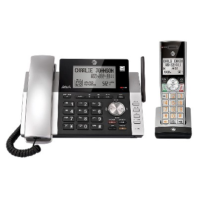 AT&T CL84115 DECT 6 0 Expandable Cordless Phone with Answering System and  Caller ID, Silver/Black, 1 Handset