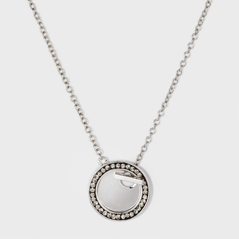 Women's Neck Silver Plated Disc with Crystal - Silver (18) - image 1 of 3