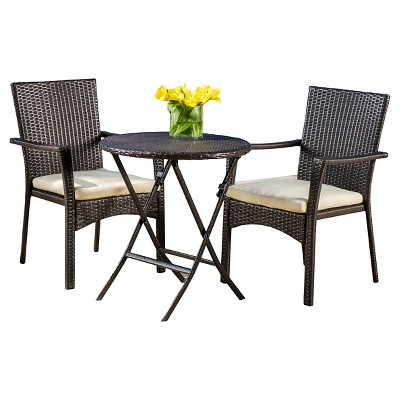 Elba 3pc Wicker Bistro Set with Cushions - Brown - Christopher Knight Home