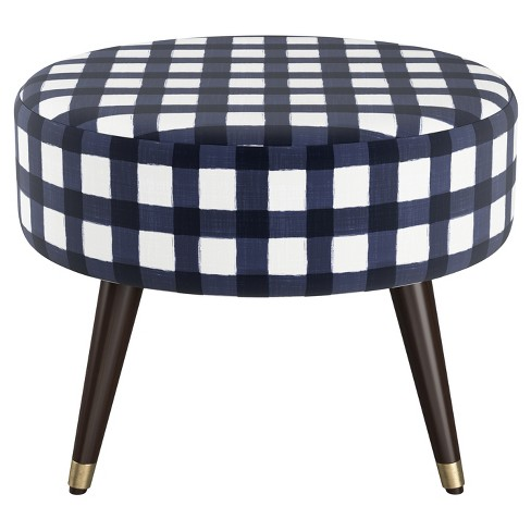 Strange Hunter Oval Ottoman Buffalo Gingham Blue Cloth Co Gmtry Best Dining Table And Chair Ideas Images Gmtryco