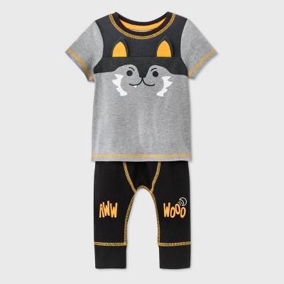 Baby Boys' Wolf Short Sleeve Top & Bottom Set - Cat & Jack™ Gray 6-9M