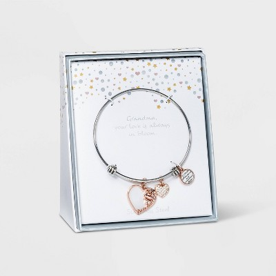 Rose Gold with Mother of Pearl and Cubic Zirconia Hearts 'Grandma' Bracelet - Silver