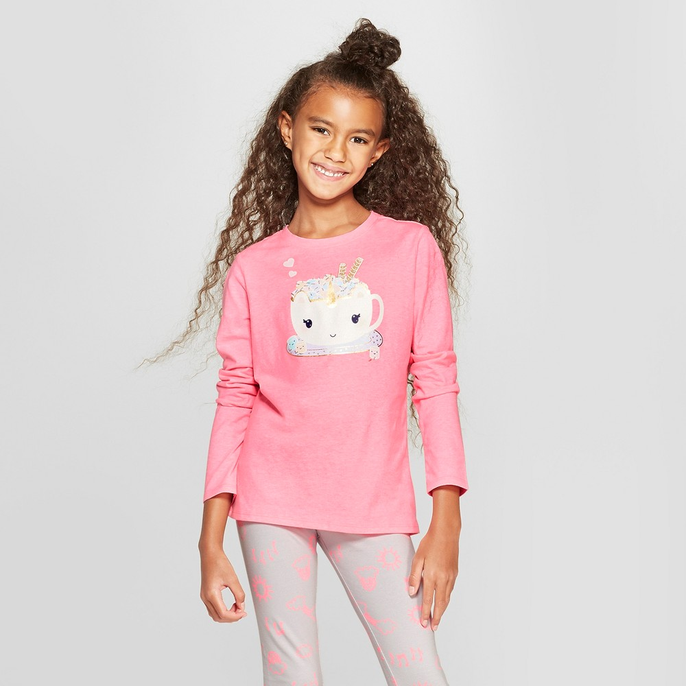 Girls' Long Sleeve Unicorn Cup Graphic T-Shirt - Cat & Jack Pink S
