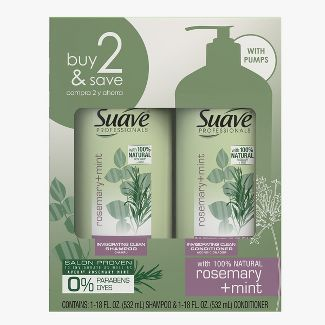 Sauve Professionals Invigorating Shampoo and Conditioner for Dry and Damaged Hair Rosemary and Mint 18 fl oz/2ct