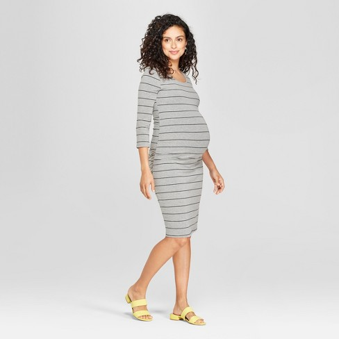 550a10ef10d31 Maternity Striped 3/4 Sleeve Shirred T-Shirt Dress - Isabel Maternity by  Ingrid & Isabel™ Gray