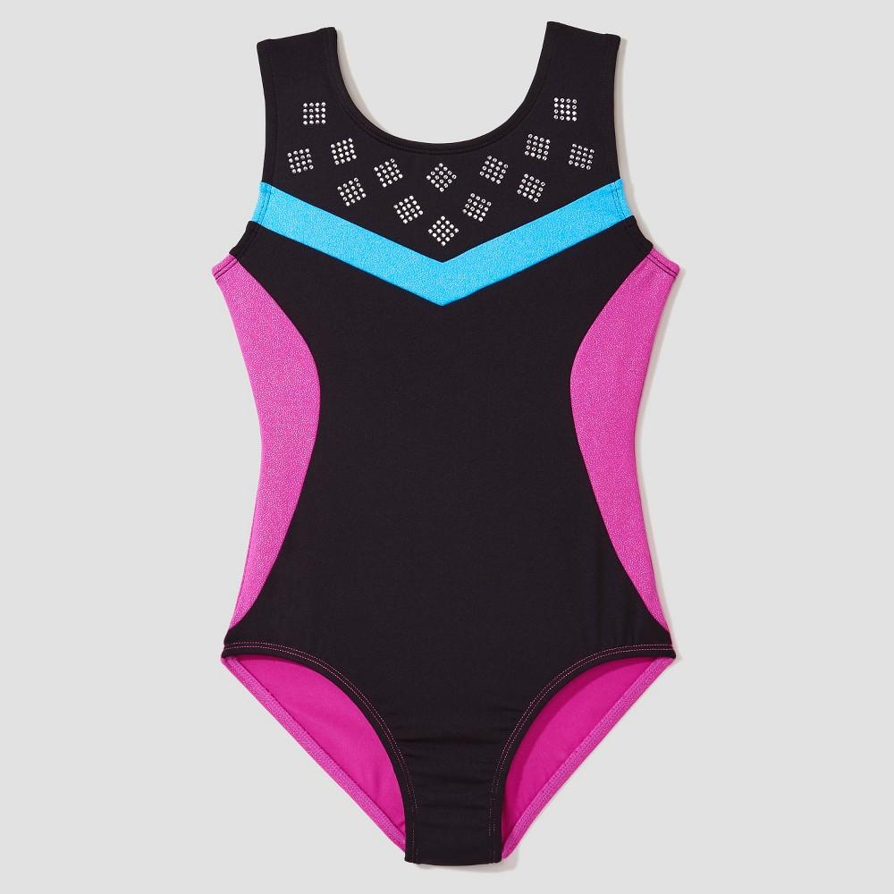 Freestyle by Danskin Girls' Strappy Back Activewear Leotard - Black/Magenta XS