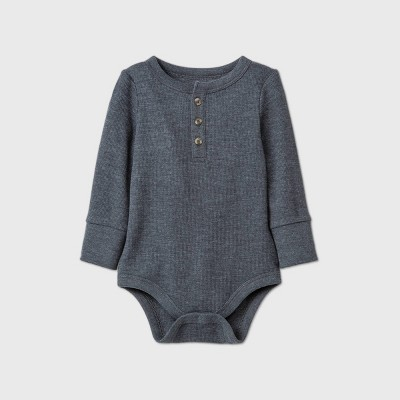Baby Boys' Henley Thermal Bodysuit - Cat & Jack™ Charcoal Gray 0-3M