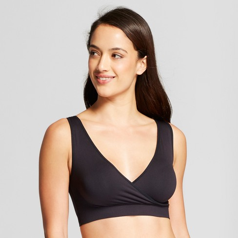 Maternity Seamless Crossover Sleep and Nursing Bra - Isabel Maternity by Ingrid & Isabel™ Black - image 1 of 3