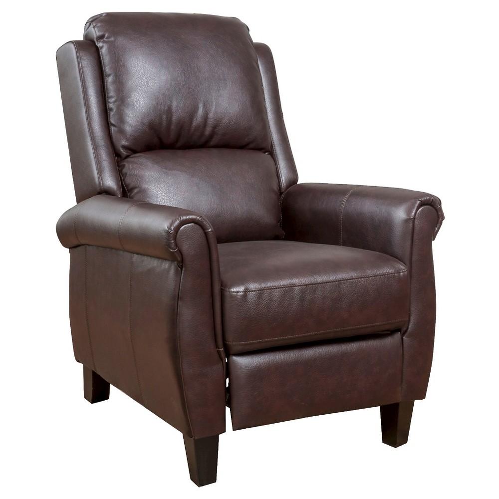 Haddan PolyurethaneLeather Recliner Club Chair Burgundy Brown - Christopher Knight Home