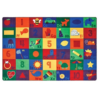 6'x9' Rectangle Woven letters Area Rug Multicolored - Carpets For Kids