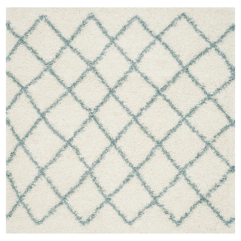 Ivory/Seafoam Geometric Loomed Square Area Rug - (6'X6') - Safavieh