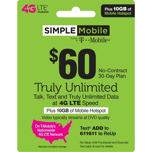 Simple Mobile $60 Unlimited Talk Text Data Prepaid Card (Email Delivery)