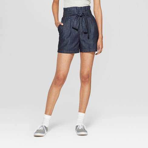 Women's Chambray Paperbag Waist Shorts - A New Day™ Indigo - image 1 of 5