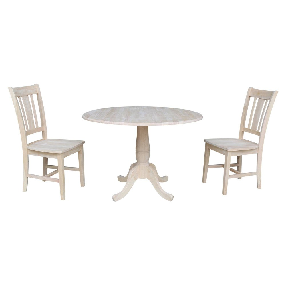 "Image of ""29.5"""" Wally Round Table with Two San Remo Chairs Blue - International Concepts"""