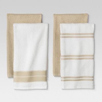 4pc Kitchen Towel Tan/White - Threshold™