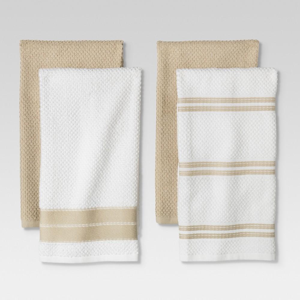 Kitchen Towel Tan/White 4pc - Threshold