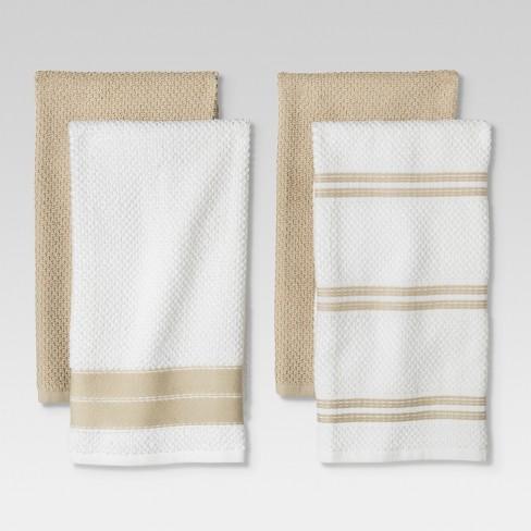 4pc Kitchen Towel Tan White Threshold