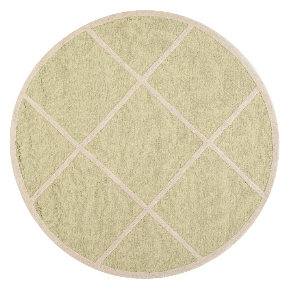 6' Geometric Round Area Rug Light Green/Ivory - Safavieh