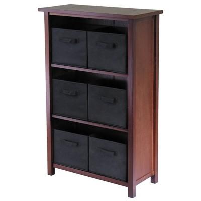 7pc Verona Set Storage Shelf with Folding Fabric Baskets Walnut - Winsome