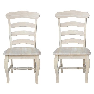 Set Of 2 Country French Chair With Solid Seat Unfinished - International Concepts