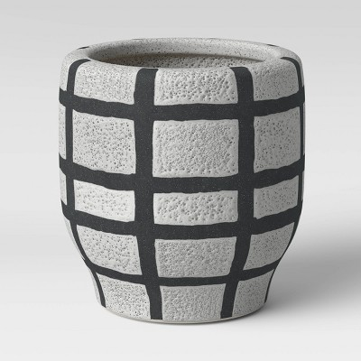 "6"" Earthenware Ceramic Planter Striped Gray - Project 62™"