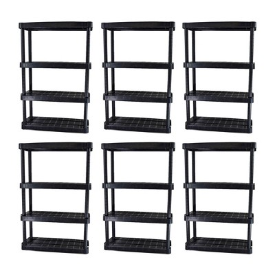 Gracious Living 54.5 Inch 4 Shelf Heavy Duty Light Weight Garage or Indoor Storage Unit Holds up to 150 Pounds with Easy Assembly (6 Pack), Black