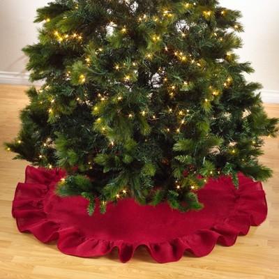 Saro Lifestyle Jute Christmas Tree Skirt With Ruffled Edge