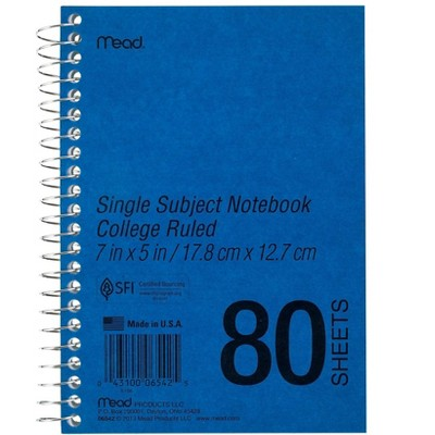 "Mead 1-Subject Notebook 5"" x 7"" College Ruled 80 Sheets Blue (06542) 887571"