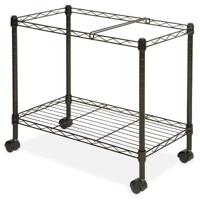 Lorell Vertical Filing Cabinet Mobile Cart Wire Single-tier Steel - Black