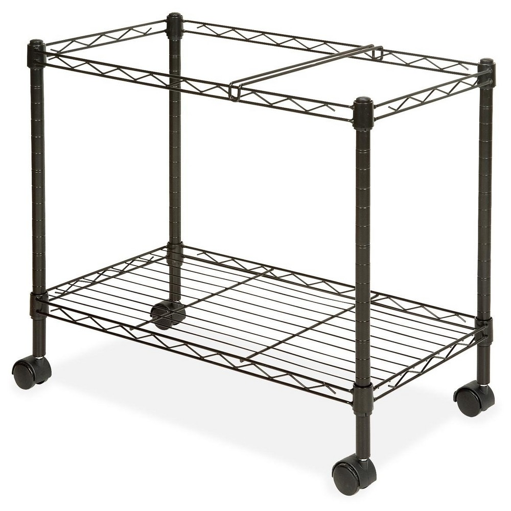 Image of Lorell Vertical Filing Cabinet Mobile Cart Wire Single-tier Steel - Black