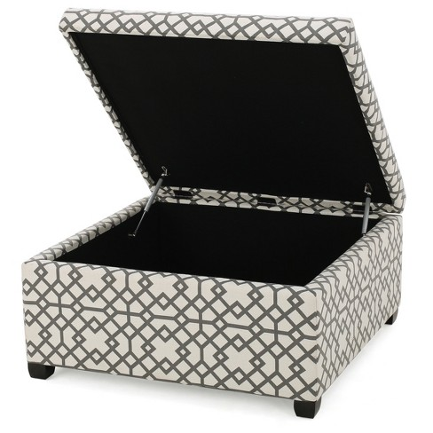 tempe storage ottoman gray geometric christopher knight home