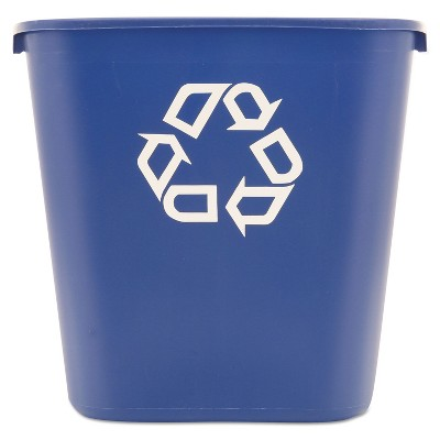 Rubbermaid Commercial Medium Deskside Recycling Container Rectangular Plastic 28.125qt Blue 295673BE