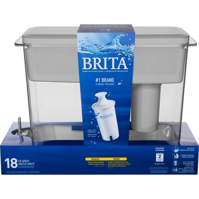 Brita Extra Large 18 Cup BPA Free Filter Water Dispenser with 1 Standard Filter - Gray, White