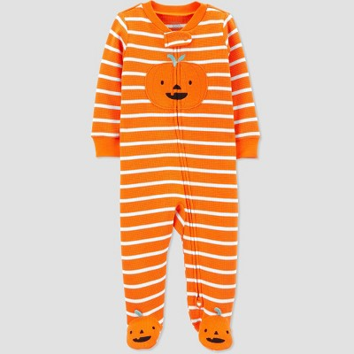 Baby Pumpkin Thermal One Piece Pajama - Just One You® made by carter's Orange 3M