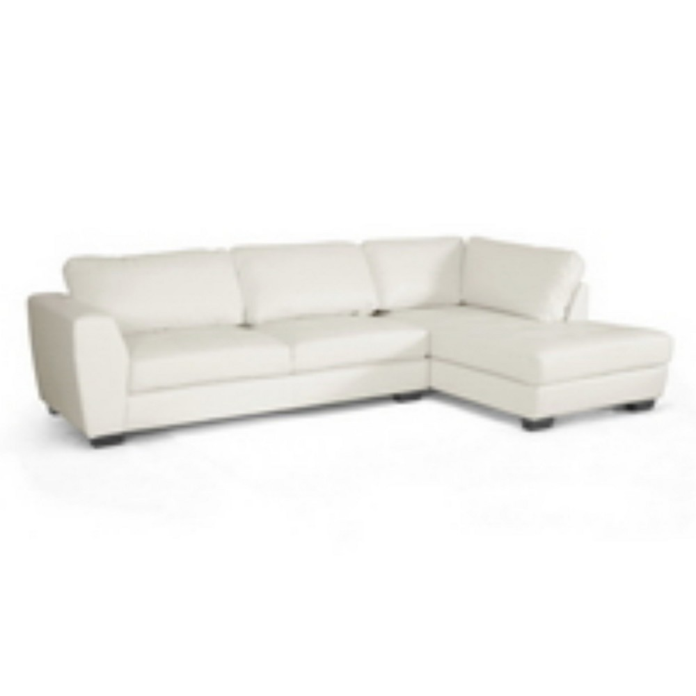 Orland Leather Modern Sectional Sofa Set with Right Facing Chaise White - Baxton Studio