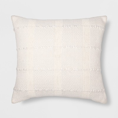 Textured Grid Square Throw Pillow Cream - Threshold™